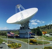 NASA Cassegrain parabolic spacecraft communication antenna, Australia. Uses X band, 8–12 GHz. Extremely high gain ~70 dBi.