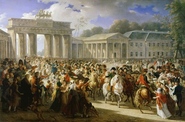Napoleon passing through the Brandenburg Gate after the Battle of Jena-Auerstedt (1806). Painted by Charles Meynier in 1810.