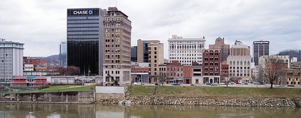 Downtown Charleston as viewed from the south bank of the Kanawha River in 2007.