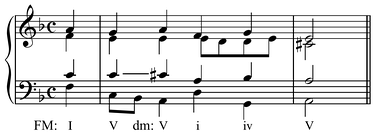 Chromatic modulation in Bach's Du grosser Schmerzensmann, BWV 300, mm. 5–6[15] (Play (help·info) with half cadence, Play (help·info) with PAC) transitions from F major to D minor through the inflection of C♮ to C♯ between the second and third chords. Note that there is no common chord.