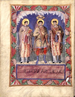 Coronation of an idealised king, depicted in the Sacramentary of Charles the Bald (about 870)