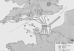 Routes taken by the D-Day invasion.