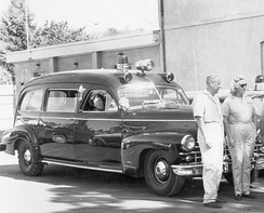 Early car-based ambulances, like this 1948 Cadillac Meteor, were sometimes also used as hearses.