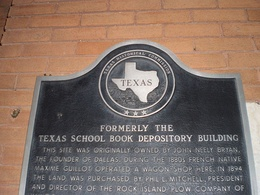 Plaque on the building that was the former Texas School Book Depository