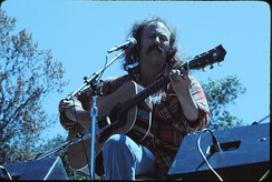 Crosby on stage during a 1976 Crosby & Nash show at the Frost Amphitheater, Stanford University