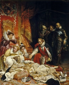 Allegorical painting of the crown passing from Elizabeth I to James I, by Paul Delaroche (1828)