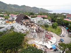 Drone view of West Sulawesi's Gubernatorial Building, which collapsed due to the mainshock