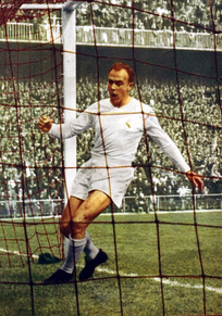 Di Stéfano scoring a goal for Real Madrid where he won 15 official titles