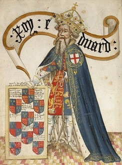 Early 15th-century depiction of Edward III, shown wearing the chivalric symbols of the Order of the Garter