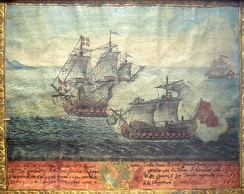 Ex-Voto of a naval battle between a Turkish ship from Algiers (front) and a ship of the Order of Malta under Langon, 1719.
