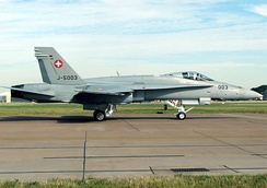 F/A-18C of the Swiss Air Force taxis for takeoff