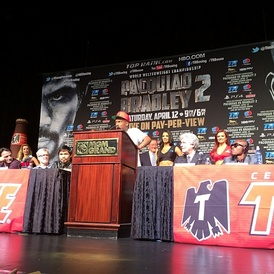 "Fashawn speaking about his song ""Champion"" during the final press conference for the Manny Pacquiao vs. Timothy Bradley II championship rematch in Las Vegas."