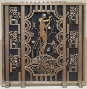 Iron fireplace screen, Rose Iron Works, Cleveland (1930)