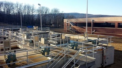 View of the coagulation and flocculation processes at the Lake Fort Smith WTP