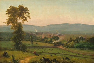 Scranton in 1855, as depicted by George Inness's painting The Lackawanna Valley, noting roundhouse of the Delaware, Lackawanna and Western Railroad