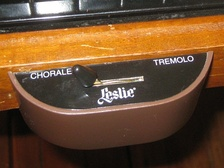 "A ""half-moon""-shaped switch for changing the speed of a Leslie speaker"