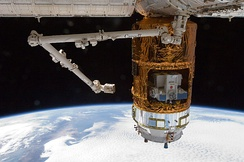 The HTV-3 berthed to the Earth-facing port of the Harmony module on 27 July 2012.