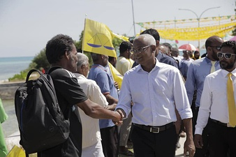 Solih on the campaign trail as the opposition's presidential candidate in 2018