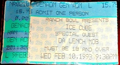 A ticket from a 1993 Ice Cube concert in Omaha, Nebraska.