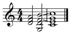 ii-V-I turnaround in C. The chords shown are D minor, G7 and C major.  Play (help·info)