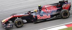 Alguersuari driving for Toro Rosso at the 2010 Malaysian Grand Prix, in which he scored his first World Championship points