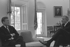 Lindsay meets with U.S. President Lyndon B. Johnson in the Oval Office, August 1967