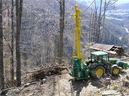 Cable logging in French Alps (cable grue Larix 3T)