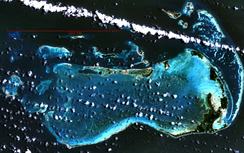 Los Roques Archipelago in Venezuela, the largest marine National Park in Latin America,[9] from space. Courtesy NASA.