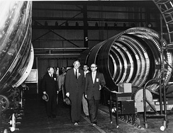 Secretary of Defence Neil McElroy visits the Jupiter prototype assembly line at ABMA. ABMA built the test articles, while Chrysler built the production models.