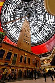 The 19th-century Coop's Shot Tower enclosed in Melbourne Central, one of the city's major retail hubs