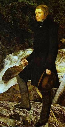John Ruskin wears a dark frock coat over lighter trousers and low-heeled shoes.  He carries a soft-crowned brown hat.  Detail of a portrait by John Everett Millais, 1853–54.