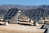 Solar panels at Nellis Air Force Base in Nevada generating and absorbing the sun's natural light