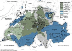 The Old Swiss Confederacy from 1291 (dark green) to the sixteenth century (light green) and its associates (blue). In the other colours shown are the subject territories.