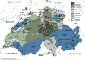 The Old Swiss Confederacy from 1291 (dark green) to the sixteenth century (light green) and its associates (blue). In the other colours are shown the subject territories.