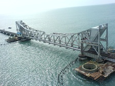 The Pamban railway bridge, which connects the Pamban island with the Indian mainland was constructed in 1914