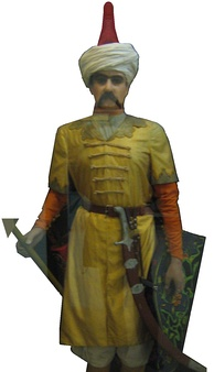 Mannequin of a Safavid Qizilbash soldier, showing characteristic red cap (Sa'dabad Palace, Teheran)