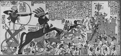 Egyptian pharaoh Ramesses II storming the Hittite fortress of Dapur