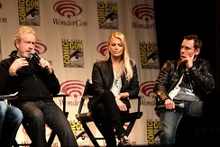 Ridley Scott, Charlize Theron, and Michael Fassbender promoting the film at WonderCon in March 2012