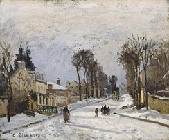 In 1869 Pissarro settled in Louveciennes and would often paint the road to Versailles in various seasons.[13] The Walters Art Museum.