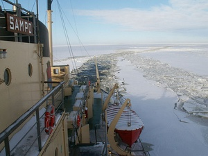 Looking back from the Icebreaker Sampo near Kemi, Finland