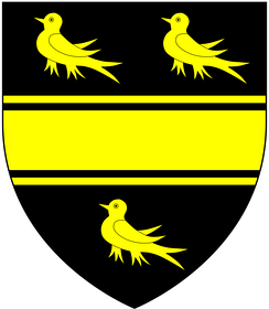 Arms of Smith of Exeter: Sable, a fess cotised between three martlets or[5]