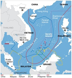 Territorial claims in the South China Sea. Vietnam's EEZ has a blue line.