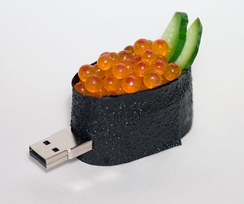 Flash drives come in various shapes and sizes, sometimes bulky or novelty, such as the shape of ikura gunkan-maki.