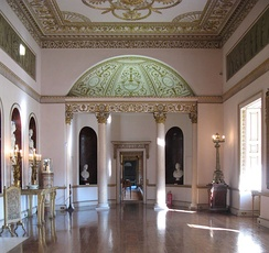 Grand Neoclassical interior by Robert Adam, Syon House, London