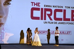 Watson (middle) at the Paris premiere of The Circle  in June 2017