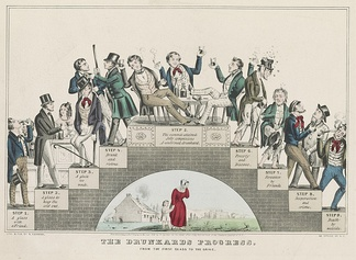 """The Drunkard's Progress"", 1846 demonstrating how alcoholism can lead to poverty, crime, and eventually suicide"