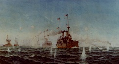 """Battle of Manila Bay, 1 May 1898"", painting by Fred S. Cozzens. The U.S. battle line turning while in action, with USS Olympia leading."