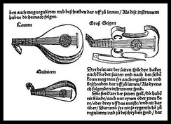 Illustration from Sebastian Virdung's (German) 1511 treatise Musica Getutsch, showing the lute family—plucked and bowed. This is the first printed illustration of a viol in history.