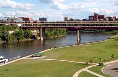 The Washington Avenue Bridge connects the East Bank and West Bank portions of the Minneapolis campus.