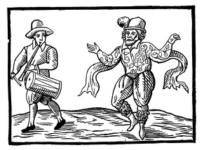 Illustration of William Kempe Morris dancing from London to Norwich in 1600